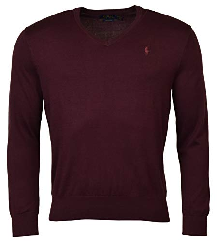Polo Ralph Lauren Mens Pima Cotton V-Neck Sweater (X-Large, Red Wine)