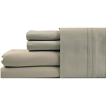 LINENWALAS 100% Cotton Bed Sheet (King 4pc Sheet Set, 1000TC_Silver)