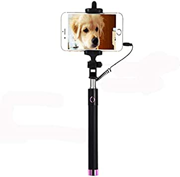 Jusun Fashion Universal Portable Handheld Selfie Stick Tripod Monopod Smartphone Wired Selfie Stick Outdoor Mobile Phone Camera Photograph Holder Bracket Color : Black
