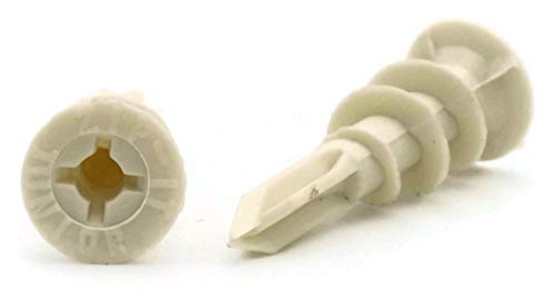 Self Drilling One-Step Drywall Anchors Plastic Self Threading Hollow Wall Anchors #6 x 1-5/16'' Qty 100