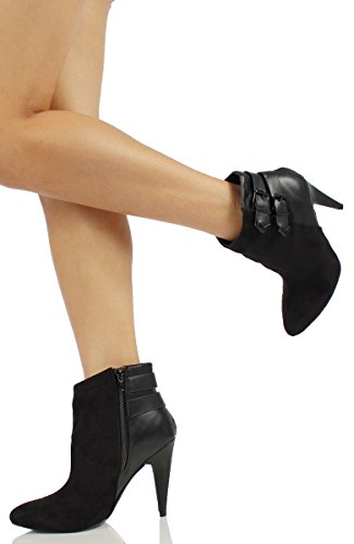 Faux amp; Leather Round Heel Womens Ankle Suede Black Toe Faux Delicious M 10 Edda US Bootie Black qxwEBYnC