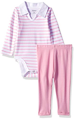 (Hanes Ultimate Baby Flexy 2 Piece Set (Pant with Long Sleeve Polo Bodysuit), Light Pink Stripe 6-12)