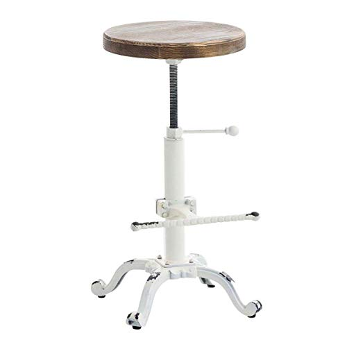 Topower Industrial Retro Vintage Farm Wooden Tractor Stool Kitchen Swivel Height Adjustable bar Stool Antique White