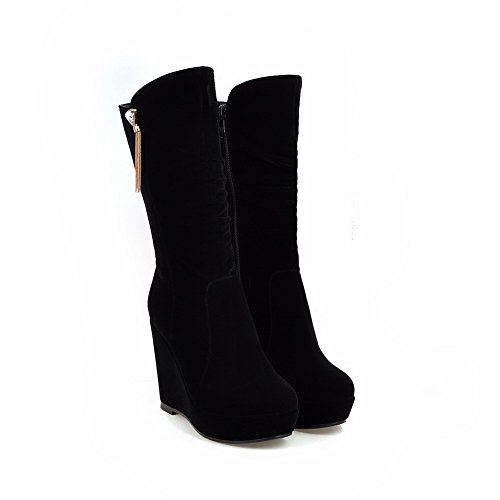 Allhqfashion Boots top Zipper Black Low High Toe Women's Heels Round Closed Frosted rvzwrqUS