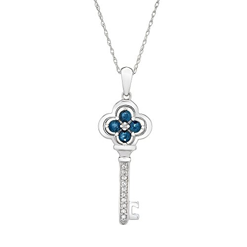 "Brilliant Designers 10K White Gold & Diamond Accented With 0.40CT Blue Sapphire Key Pendant And 18"" 10K White Gold Chain."