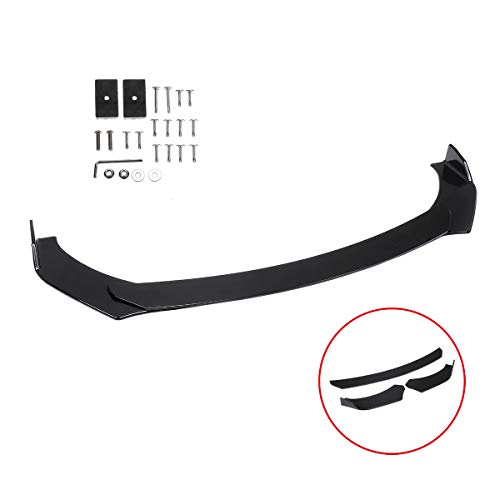 Evieun Universal Front Bumper Lip Body Kit Spoiler GT Style Black ABS Front Bumper Lip Spoiler Wing Body Fits For almost cars Honda civic,Nissan,BMW,Mercedes,Audi,Infiniti,TOYOTA 350z Front Lip Spoiler