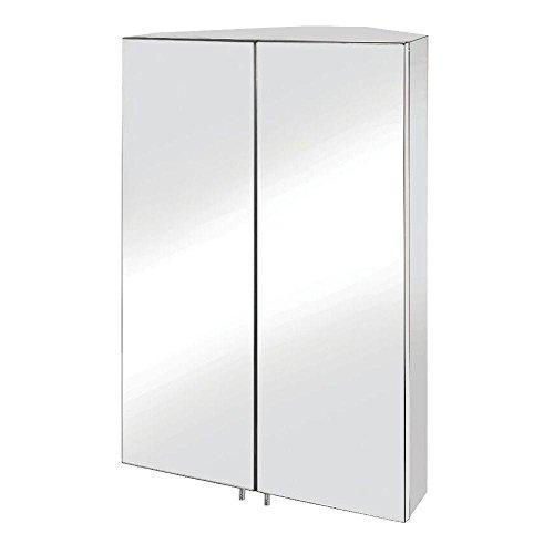 Vanity 550 Cabinet - Croydex WC766105YW Avisio Double Door Corner Med Cabinet, Stainless