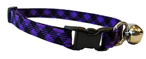 Purple Plaid Cat or kitten Collar black bias Halloween Harvest Cotton Break Away Buckle violet dark spooky scary by Britches4Stitches