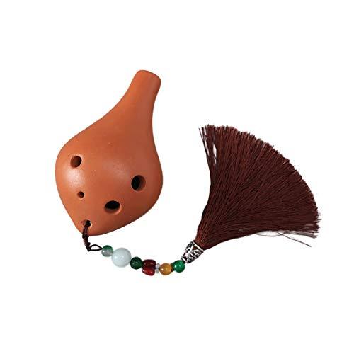 (Ocarina Musical Instrument 6 Hole Beginner Introduction Instrumental Alto C ,terracotta Pink Pendant/Terracotta Brown Pendant (Color : Brown pendant))