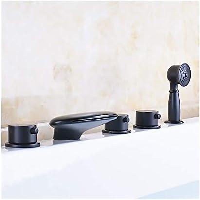 黒の浴槽の蛇口真鍮の滝浴室の浴槽の蛇口3ハンドル5穴シャワーの蛇口セットデッキマウント浴槽タップハンドヘルドシャワーとホースを含める
