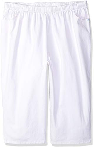 Chic Classic Collection Women's Plus Size Pull On Stretch Capri, White, 18W ()