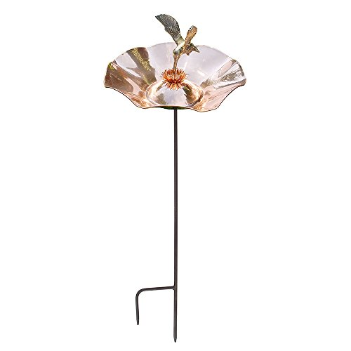Achla Designs HBBB-01-S Hummingbird Copper birdbath Bowl with Stake, ()