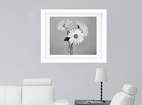 Still Life Picture Grey Bathroom Wall Art Shasta Daisy Flower Photography Print Country Rustic Shabby Chic Wall Art Black and White Wall Art Powder Room Decor