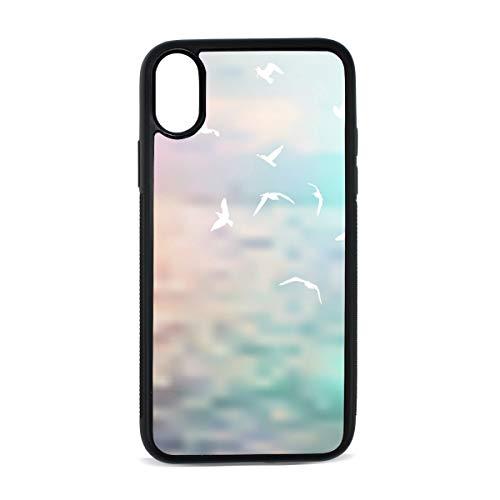 (White Seagull Clouds Backdrop Premium Luxury Design TPU Gel Bumper Shock Absorption Anti-Scratch&Fingerprint Cover Case iPhone X)