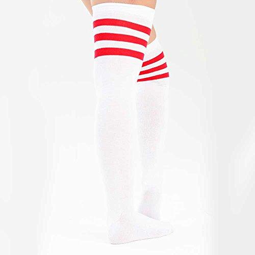Weiß Mit Adam Coscia Women 3 On in righe Roten colori coscia calzini Streifen a Eesa alta colorata The Knee 4 aarwT
