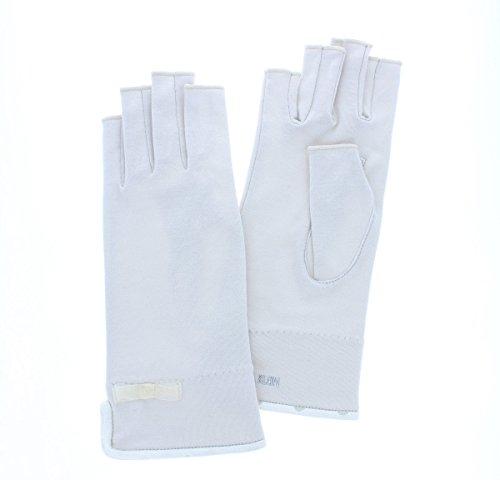 (ミッシェルクラン) Michel Klein UVカット UV手袋 ショート丈 22cm 指切り 指なし 綿素材で洗いやすい シンプルデザイン 女性用 Mサイズ