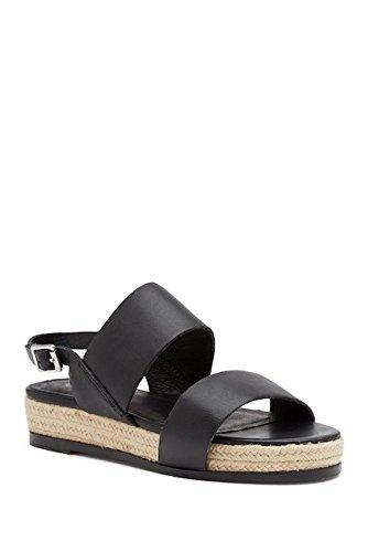 Andrew Stevens Womens Flat Espadrille Sandals - Genuine Leather Brooklyn Flat Wedge Sandals B00V5EW52G 6.5 B(M) US|Black