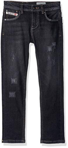 (Diesel Boys' Little Deconstructed Denim Jean, Washed Black, 5)