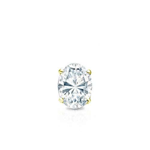 14k Yellow Gold 4-Prong Basket Oval Diamond SINGLE STUD Earring (1/4ct, White, SI1-SI2)