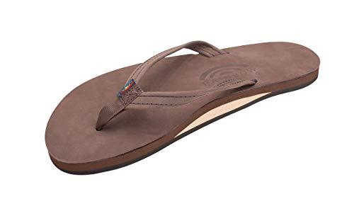Rainbow Sandals Women's Single Layer Premier Leather Narrow Strap, Expresso, Ladies Medium / 6.5-7.5 B(M) US (Rainbow Sandals Thin Strap)