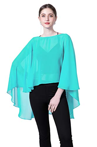 Chiffon Capes Sheer Capelets Bridal Shawls And Wraps Cape Long Plus Size Poncho Cape For Women (Aqua) -