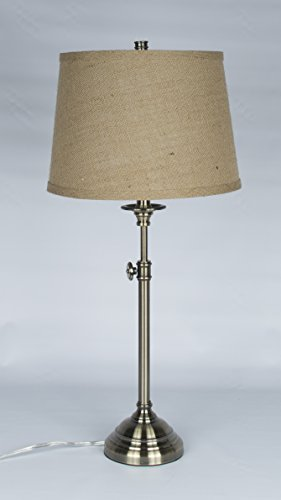 Urbanest Windsor Adjustable Accent Lamp, Antique Brass Finish Lamp Base with Natural Burlap (Antique Natural Brass Finish)