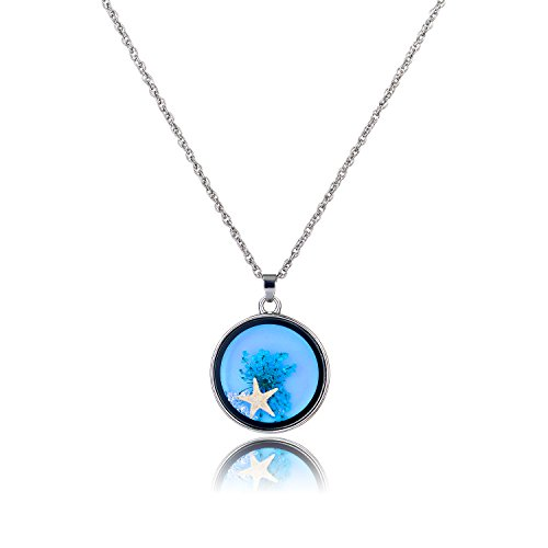 "Glowing Flower Pendant Necklace - Fairy Glow in the Dark Pressed Real Flower Necklace Birthday Christmas for Friend Sisters Women Girls Children 18"" (Azure Flower and Starfish) ()"