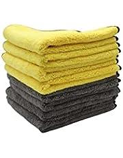 One Classic Auto Microfiber Dual Layers Coral Fleece Towel Yellow/Grey
