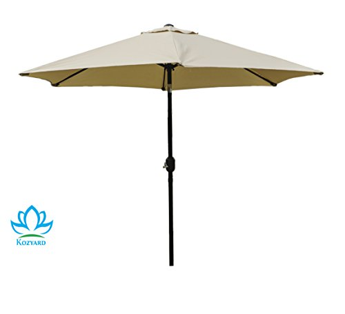 "Kozyard 9 Feet Patio Outdoor Umbrella with Push Button to Crank, 100% Polyester, Steel Rib and Sturdy Aluminum Pole in Bronze Finish(Beige) - Crank open system making product simple to open and close, and pain free tilting capabilities 6 steel ribs for strong strength and 1.5"" diameter aluminum center pole. Includes single wind vent for stability. (No base included) 160 gsm Solution-dyed polyester with color fastness lasts for 1000 hours. Powder Coated Frame - shades-parasols, patio-furniture, patio - 31eQ9bF%2BmLL -"