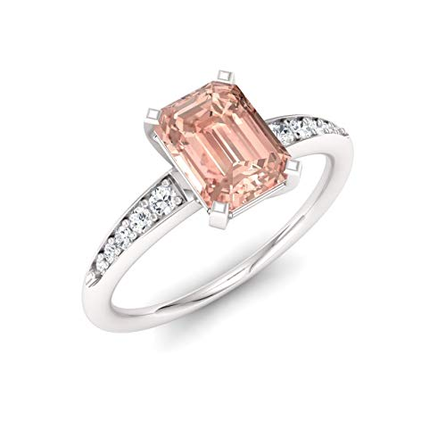 - Diamondere Natural and Certified Emerald Cut Morganite and White Sapphire Engagement Ring in 925 Sterling Silver | 1.04 Carat Ring for Women, US Size 7