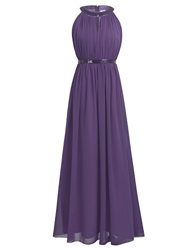 on Sequined Halter Prom Bridesmaid Dress Long Evening Gowns Dark Purple US Size 6 (Sequined Long Gown)