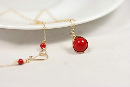 (Gold Red Coral Necklace with Swarovski Pearl Wire Wrapped Yellow or Rose Gold Filled)