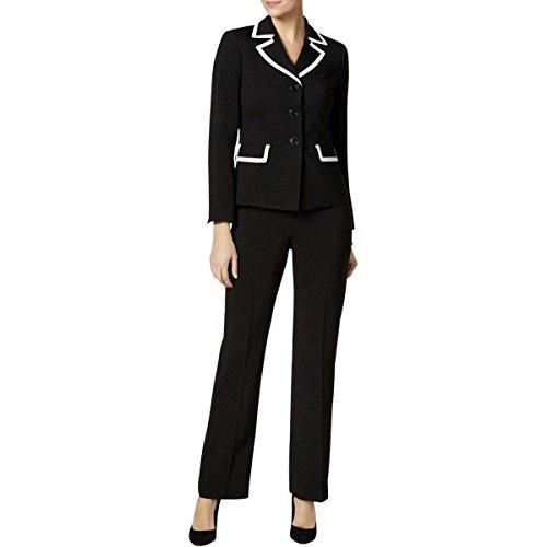 Le Suit Women's 3 Button Pant Suit with White Piping, Black/White, 10 by Le Suit