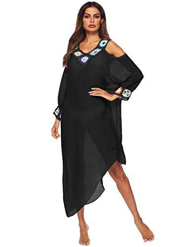 - Women Long Maxi Cover Ups Swimsuit Turkish Ethnic Print Kaftan Beach Dress (D-Black)