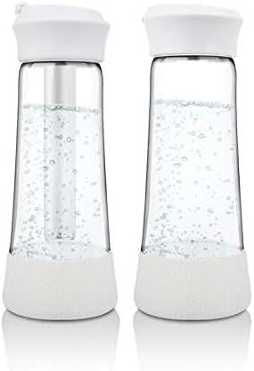 2 Piece Portable Hydrogen Water Bottle Sintering Hydrogen Production Hydrogen Rich Water Hydrogen Alkaline Water Bottle Machine Maker Anti-Aging Antioxidant Glass 400 Ml