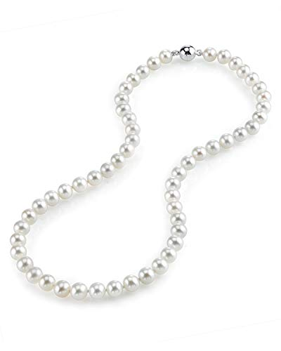 (THE PEARL SOURCE 7-8mm AAA Quality Round White Freshwater Cultured Pearl Necklace for Women with Magnetic Clasp in 24