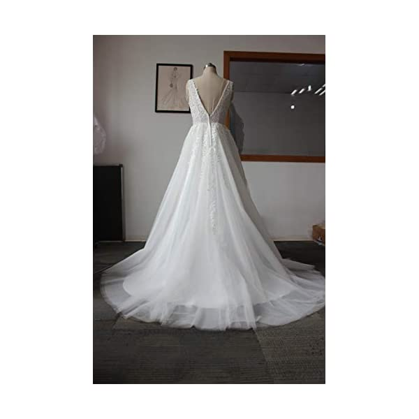 331c3f88fa9 ABaowedding Women s Wedding Dress for Bride Lace Applique Evening ...