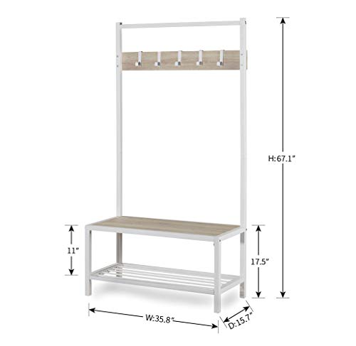 Homissue Modern Style 2 Shelf Hall Tree with Storage Bench, Light Oak Bench and Lower Shelf with White Steel Frame, Entryway Shoe Rack with 5 Hooks for Garments - Modern Style with Simple Design: Made of white steel frame and MDF, wood grain (Not solid wood), add this elegant hall tree to the entryway or hallway to complement a fashionable aesthetic. Versatile Hall Tree with Bench: It not only works great as a shoe bench in the entry, but also can be an extra storage shelf to keep several pairs of shoes or baskets for daily items and accessories in your living room Reliable Construction:Its sturdy metal frame allows the whole clothes rack more durable and stable to hold up to 230 lbs; shoe bench has a weight capacity of 180 lbs - hall-trees, entryway-furniture-decor, entryway-laundry-room - 31eQDoTx93L -