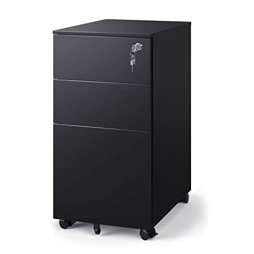 DEVAISE 3 Drawer Metal File Cabinet, Locking Filing Cabinet on Wheels for Home Office,Black