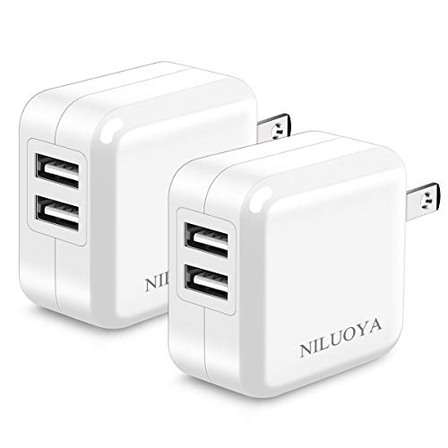 USB Wall Charger, Niluoya Foldable 2.4A 2-Pack Dual Port USB Plug Power Adapter Charging Block Cube Compatible withiPhone Xs Max/XS/XR/X/8/8 Plus/7/6S/6S Plus, iPad, Samsung, Moto, HTC