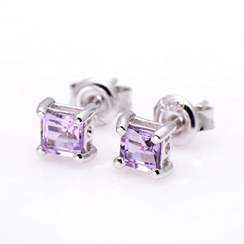 925 Sterling Silver 5mm Princess Cut Amethyst Crystal Earrings Studs for Women