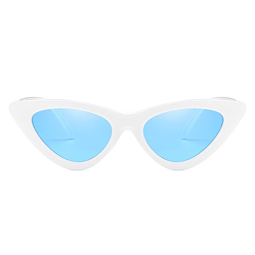 Green Sunglasses Triangle Reb Eye Glasses UV400 Frame Lens Eyewear Size Cat Small Women White Fashion New Sun Blue Frame Blue 7q5xv44wnC