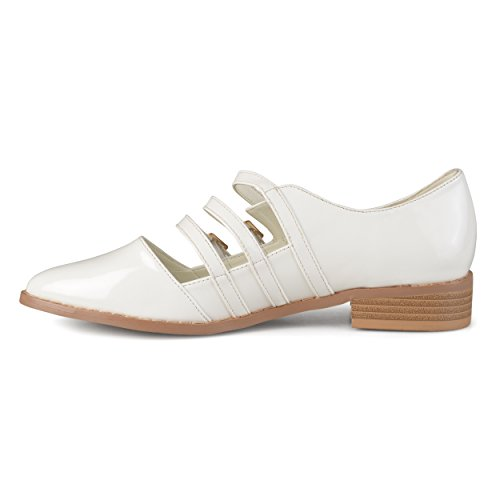 Journee Collection Womens Patent Buckle Shoes White 2IvzX