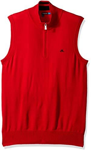 (J.Lindeberg Men's Merino Wool Vest, Racing red Small)