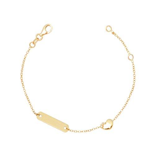 UNICORNJ Childrens Toddler 14k Yellow Gold Cubic Zirconia Heart ID Bracelet 5.75'' by Unicornj