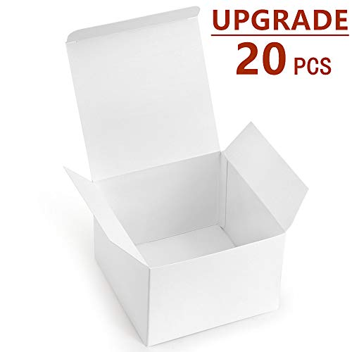 White Paper Mache - ValBox 20 Pack White Gift Boxes 5 x 5 x 3.5 Paper Gift Boxes with Lids for Gifts, Thanksgiving, Crafting, Cupcake, Cardboard Boxes, Easy Assemble Boxes