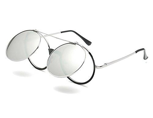 Hombre Mujer metálico Retro Flip redondo Sol Lentes Bmeigo Unisex círculo de Argento Up Protección Steampunk Estilo UV400 Gafas 8nPptp0U