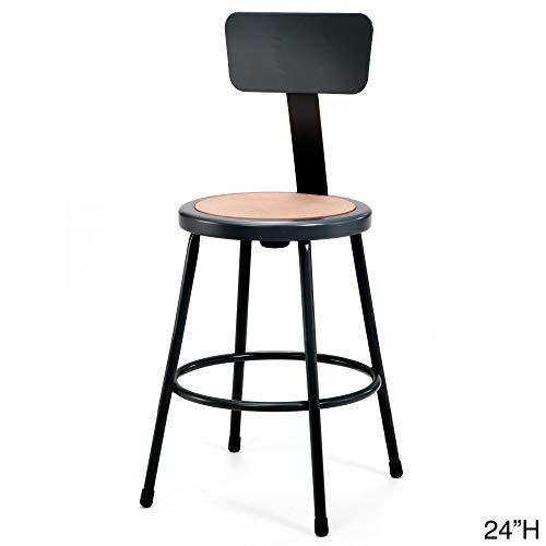 National Public Seating 6224B-10 24 Heavy Duty Steel Stool with Backrest, Black