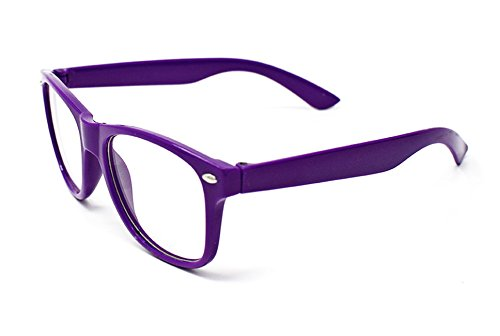 Costumes Ideas With Glasses (Purple Classic Style Multi Colour Clear lens Classic Frames Perfect for Costumes Parties Glasses Gift Nerds and)