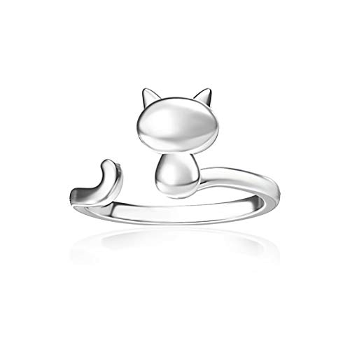 (Yunzee Expandable Cat Ring Cute Cat Design Opening Finger Ring for Women Girls,Photo Color )